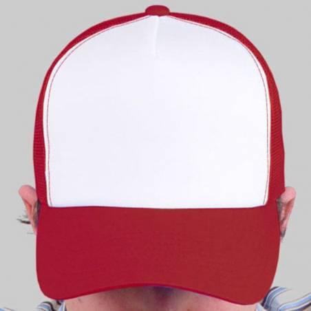 Sin cordón - Gorras Trucker Rojo/blanco para pintar